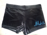 Black velour personalised shorts, name on leg